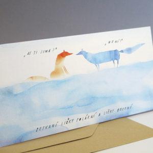 Přací karta Setkání lišek