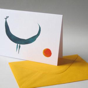 Přací karta Páv a západ slunce