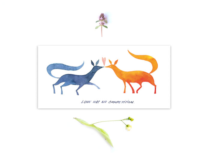 Tereza-Cerhova-illustrated-greeting-card-love-has-no-competition