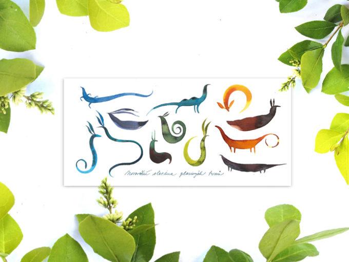 Tereza-Cerhova-praci-karta-ilustrace-novorocni-slezina-plazivych-tvoru